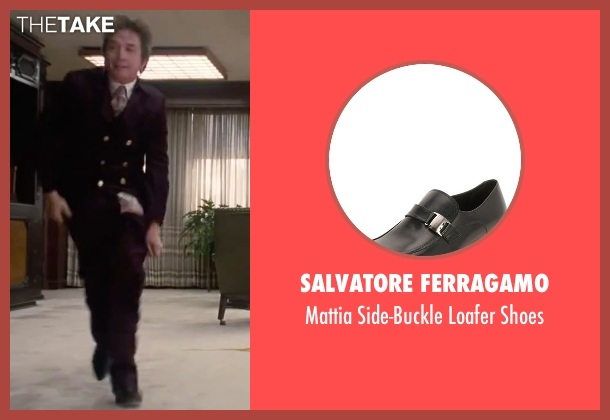 Salvatore Ferragamo black shoes from Inherent Vice seen with Martin Short (Dr. Rudy Blatnoyd, D.D.S.)
