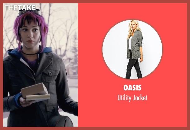 Oasis gray jacket from Scott Pilgrim Vs. The World seen with Mary Elizabeth Winstead (Ramona Flowers)