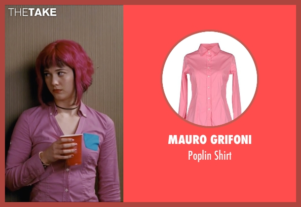 Mauro Grifoni pink shirt from Scott Pilgrim Vs. The World seen with Mary Elizabeth Winstead (Ramona Flowers)
