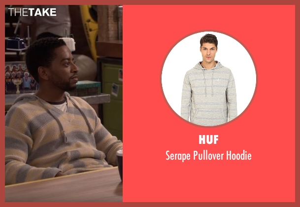 Huf gray hoodie from The Great Indoors seen with Mason (Shaun Brown)