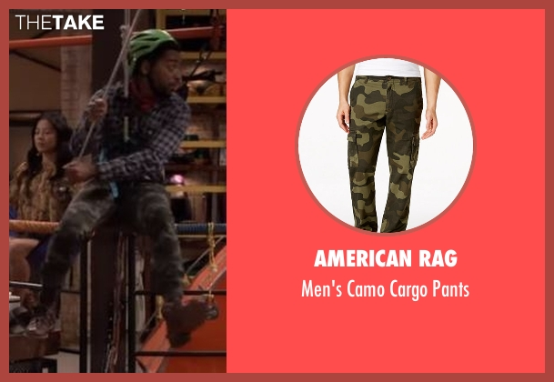 American Rag green pants from The Great Indoors seen with Mason (Shaun Brown)