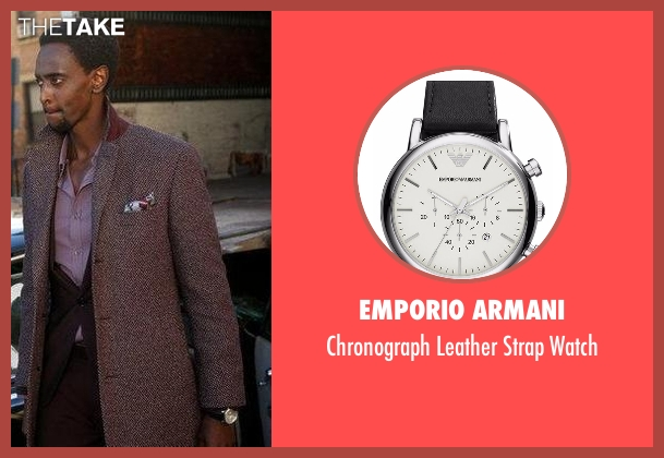Emporio Armani black watch from The Blacklist seen with Matias Solomon (Edi Gathegi)