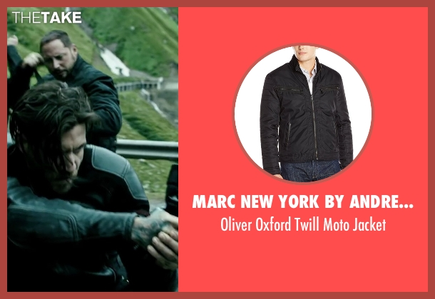 Marc New York By Andrew Marc black jacket from Point Break seen with Matias Varela (Grommet)