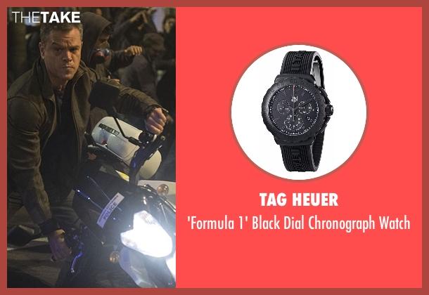 Tag Heuer black watch from Jason Bourne seen with Matt Damon (Jason Bourne)