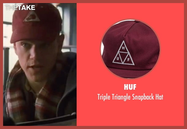 Huf red hat from Ocean's Eleven seen with Matt Damon (Linus Caldwell)