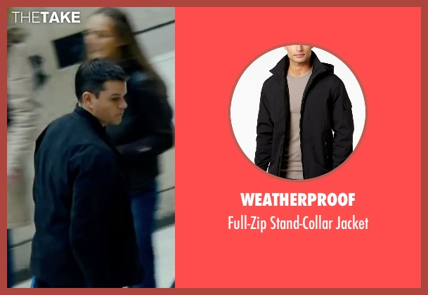 Weatherproof black jacket from The Bourne Ultimatum seen with Matt Damon (Jason Bourne)