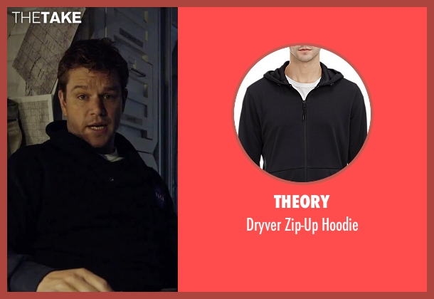 Theory black hoodie from The Martian seen with Matt Damon (Mark Watney)