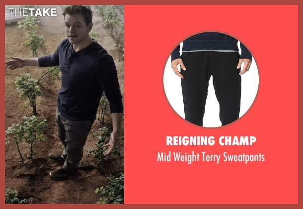 Reigning Champ black sweatpants from The Martian seen with Matt Damon (Mark Watney)