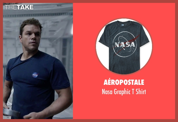 Spiffy Custom Gifts blue t-shirt from The Martian seen with Matt Damon (Mark Watney)