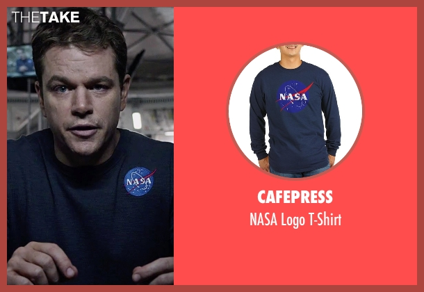 CafePress blue t-shirt from The Martian seen with Matt Damon (Mark Watney)