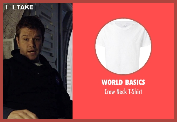 World Basics white t-shirt from The Martian seen with Matt Damon (Mark Watney)