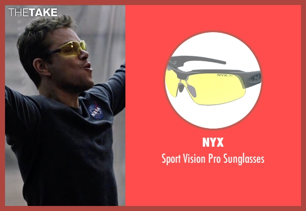 NYX yellow sunglasses from The Martian seen with Matt Damon (Mark Watney)