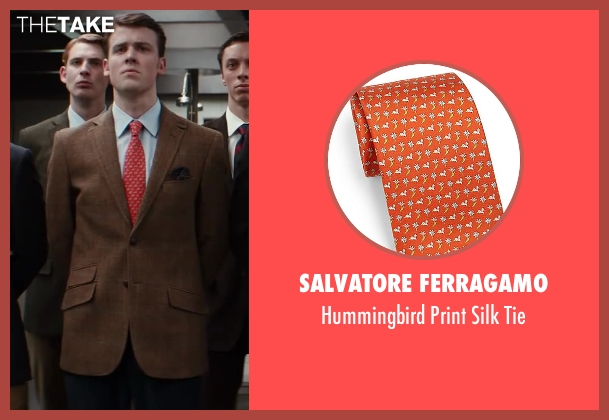 Salvatore Ferragamo orange tie from Kingsman: The Secret Service seen with Matt Hookings (Young Arthur)