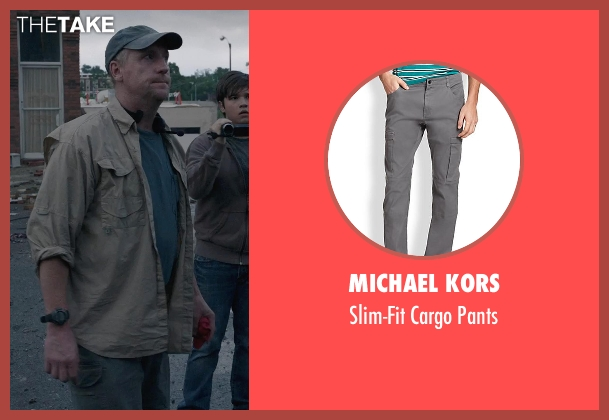 Michael Kors gray pants from Into the Storm seen with Matt Walsh (Pete)