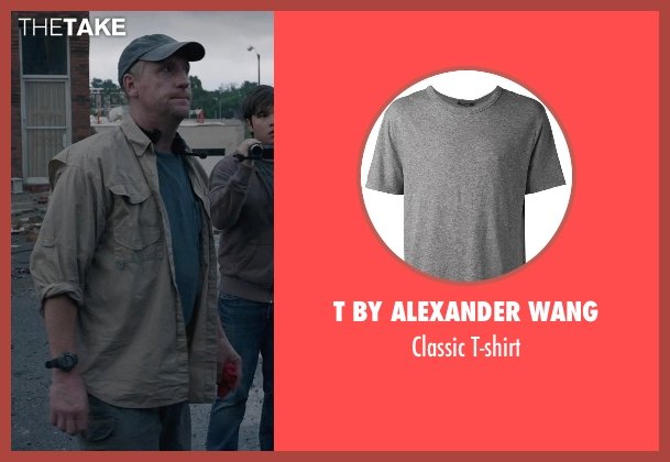 T by Alexander Wang gray t-shirt from Into the Storm seen with Matt Walsh (Pete)