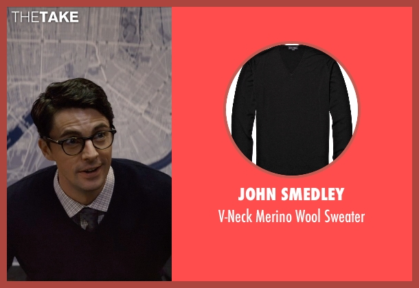 John Smedley black sweater from Self/Less seen with Matthew Goode (Albright)