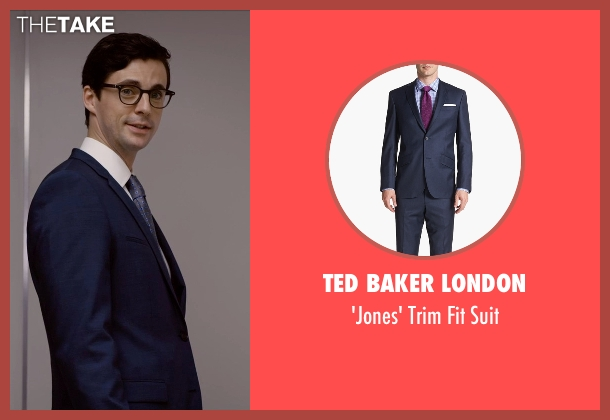 Ted Baker London blue suit from Self/Less seen with Matthew Goode (Albright)