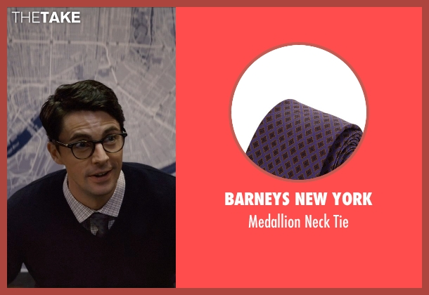 Barneys New York purple tie from Self/Less seen with Matthew Goode (Albright)