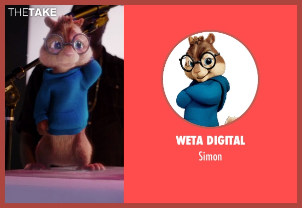 Weta Digital simon from Alvin and the Chipmunks: The Road Chip seen with Matthew Gray Gubler (Simon (voice))