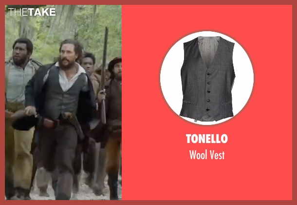 Tonello gray vest from Free State of Jones seen with Matthew McConaughey (Newton Knight)