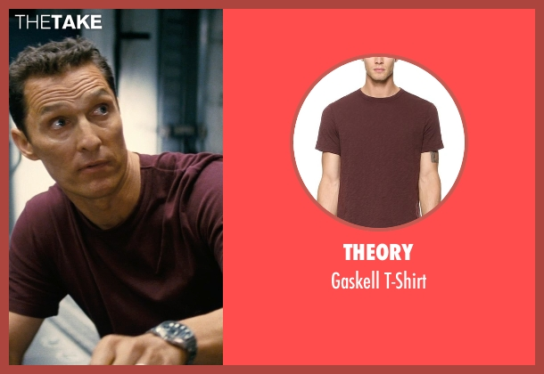 Theory red t-shirt from Interstellar seen with Matthew McConaughey (Cooper)