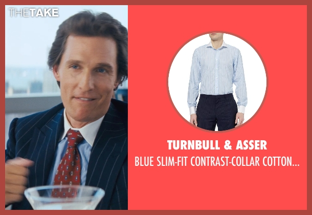 TURNBULL & ASSER blue shirt from The Wolf of Wall Street seen with Matthew McConaughey (Mark Hanna)