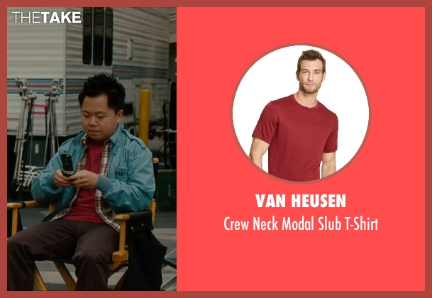 Van Heusen red t-shirt from No Strings Attached seen with Matthew Moy (Chuck)