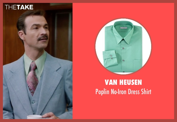Van Heusen green shirt from Anchorman 2: The Legend Continues seen with Matthew Stanton (Skinny Guy)