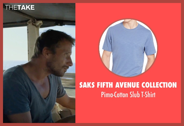 Saks Fifth Avenue Collection blue t-shirt from A Bigger Splash seen with Matthias Schoenaerts (Paul De Smedt)