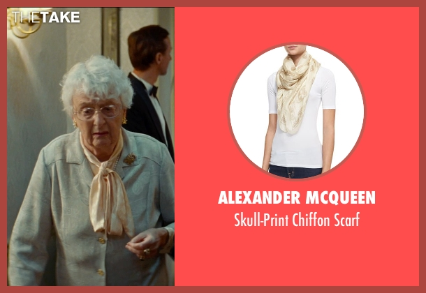 Alexander McQueen beige scarf from The Hundred-Foot Journey seen with Matyelok Gibbs (Lady Shepherd)
