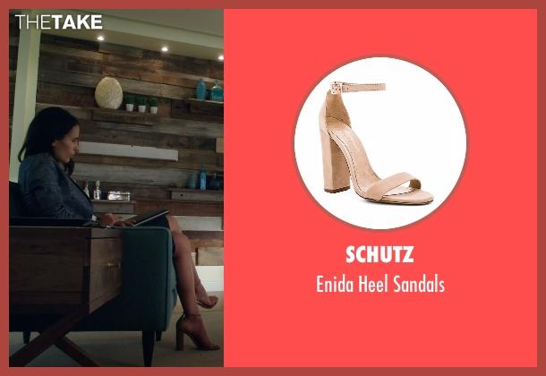 Schutz beige sandals from Lethal Weapon seen with Maureen Cahill (Jordana Brewster)