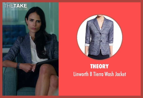 Theory blue jacket from Lethal Weapon seen with Maureen Cahill (Jordana Brewster)