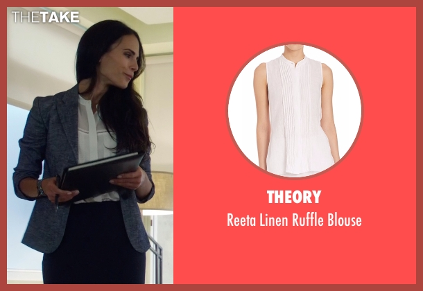 Theory white blouse from Lethal Weapon seen with Maureen Cahill (Jordana Brewster)