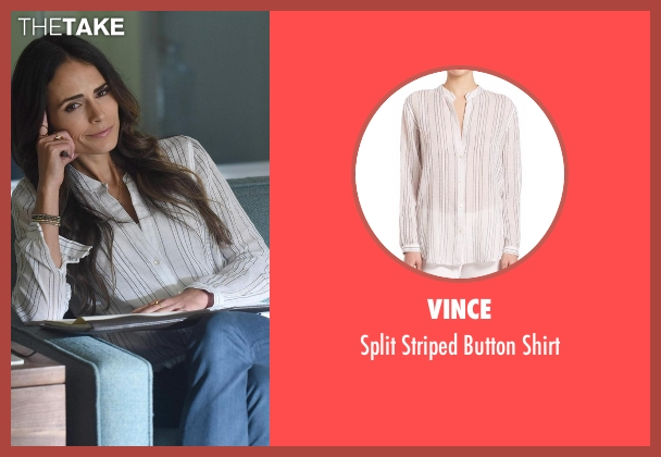 Vince white shirt from Lethal Weapon seen with Maureen Cahill (Jordana Brewster)