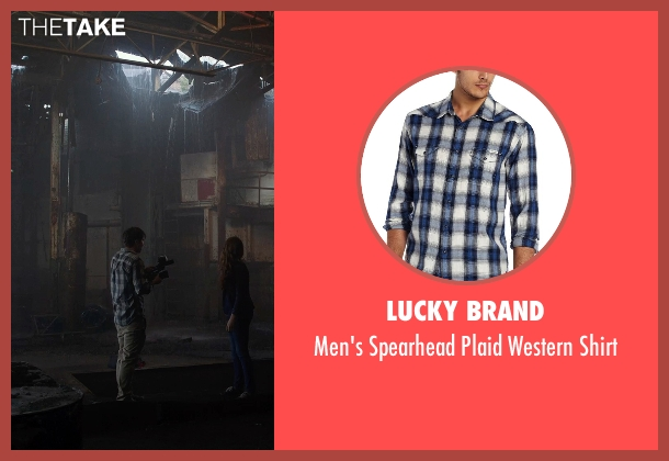 Lucky Brand blue shirt from Into the Storm seen with Max Deacon (Donnie)