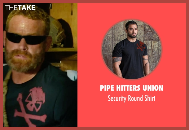 Pipe Hitters Union black shirt from 13 Hours: The Secret Soldiers of Benghazi seen with Max Martini (Oz)