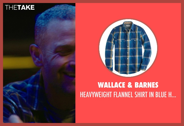 WALLACE & BARNES blue plaid from Sabotage seen with Max Martini (Tom 'Pyro' Roberts)