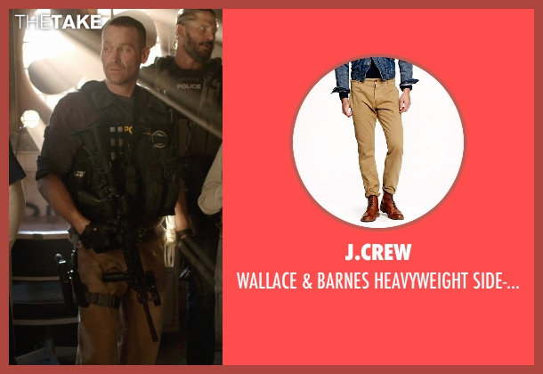 J.Crew brown pant from Sabotage seen with Max Martini (Tom 'Pyro' Roberts)