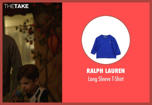 Ralph Lauren blue t-shirt from The Overnight seen with Max Moritt (Max)