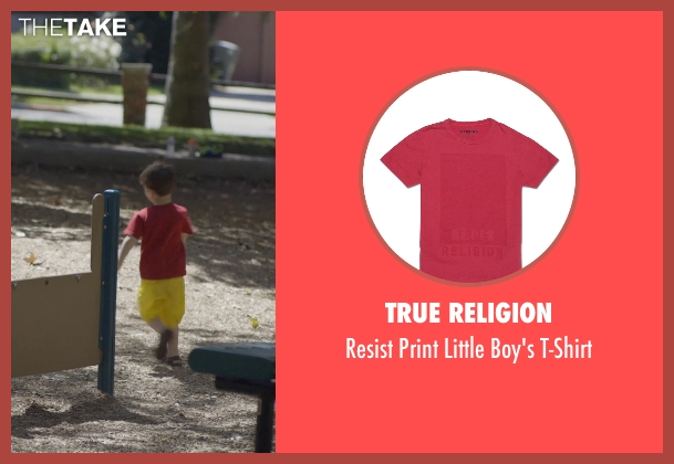 True Religion red t-shirt from The Overnight seen with Max Moritt (Max)