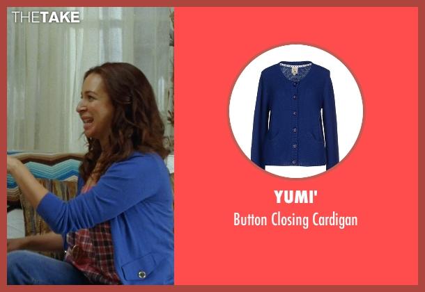 Yumi' blue cardigan from Bridesmaids seen with Maya Rudolph (Lillian Donovan)