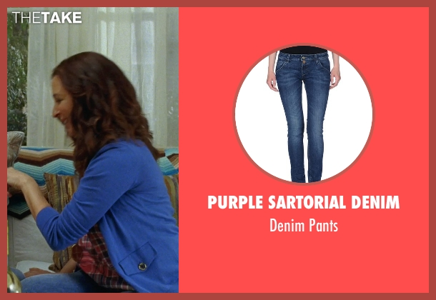 Purple Sartorial Denim blue pants from Bridesmaids seen with Maya Rudolph (Lillian Donovan)