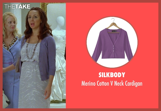 Silkbody purple cardigan from Bridesmaids seen with Maya Rudolph (Lillian Donovan)