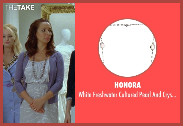 Honora white necklace from Bridesmaids seen with Maya Rudolph (Lillian Donovan)