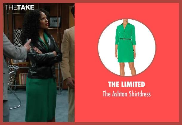The Limited green shirtdress from Anchorman 2: The Legend Continues seen with Meagan Good (Linda Jackson)