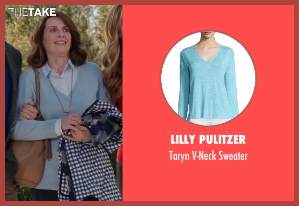 Lilly Pulitzer blue sweater from Why Him? seen with Megan Mullally (Barb Fleming)