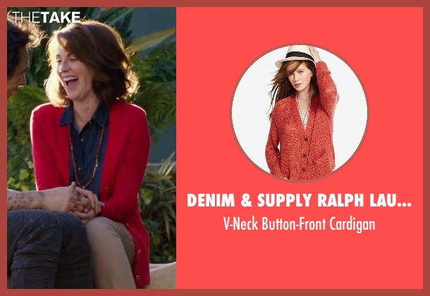 Denim & Supply Ralph Lauren red cardigan from Why Him? seen with Megan Mullally (Barb Fleming)