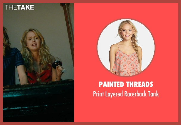 Painted Threads orange tank from What If seen with Megan Park (Dalia)