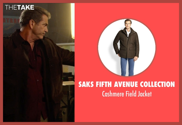 Saks Fifth Avenue Collection brown jacket from The Expendables 3 seen with Mel Gibson (Stonebanks)