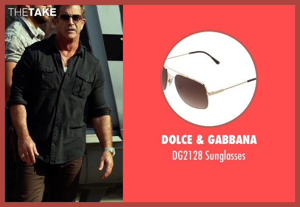 Dolce & Gabbana brown sunglasses from The Expendables 3 seen with Mel Gibson (Stonebanks)